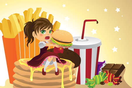 unhealthy food: A illustration of a girl eating junk food