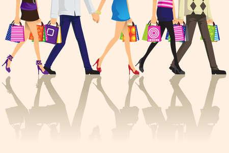 Una ilustración de la gente de compras con bolsas de compras