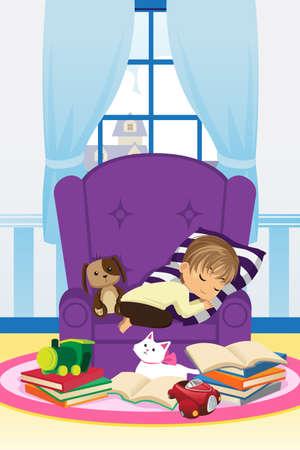 dormir habitaci�n: Una ilustraci�n de un ni�o durmiendo en el sof� despu�s de estudiar Vectores