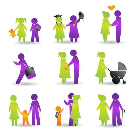 Una ilustración de los iconos de eventos de la vida Ilustración de vector