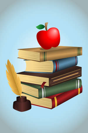 A illustration of a stack of books and an apple