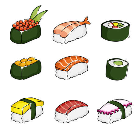 A illustration of different sushi icons Çizim