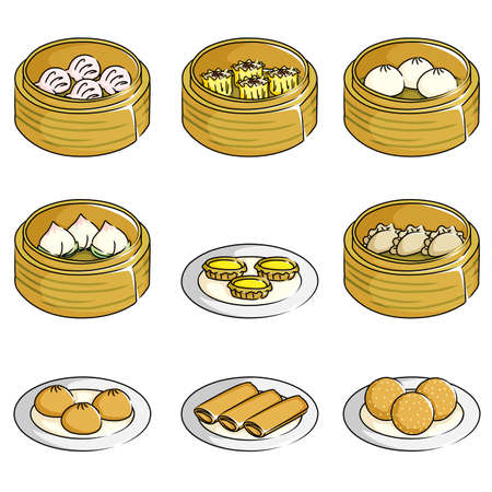 A illustration of Chinese dim sum icons Vector