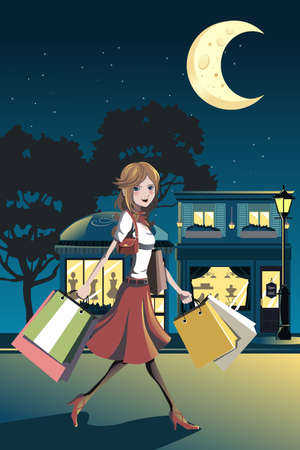 A vector illustration of a woman shopping at night