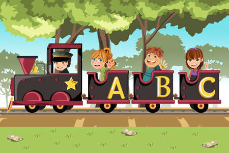 Una ilustración vectorial de un grupo de niños montando un tren alfabeto Ilustración de vector