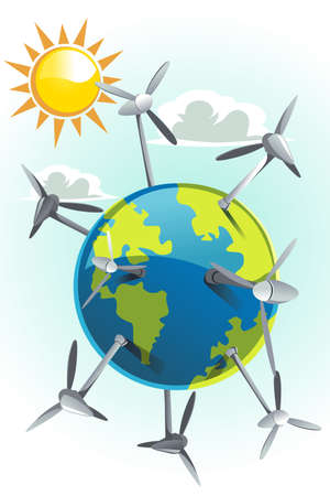 An illustration of wind turbines on earth Stock Vector - 13319858