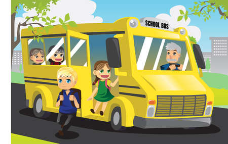 child of school age: A vector illustration of school kids getting off from the school bus