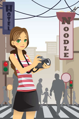 A vector illustration of a woman tourist holding a camera