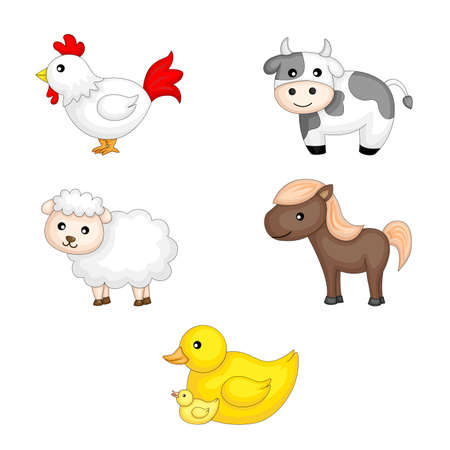 A vector illustration of farm animals graphic