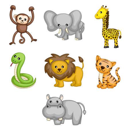 zwierzę: A ilustracje wektorowe dzikich zwierzÄ…t kreskówki Ilustracja