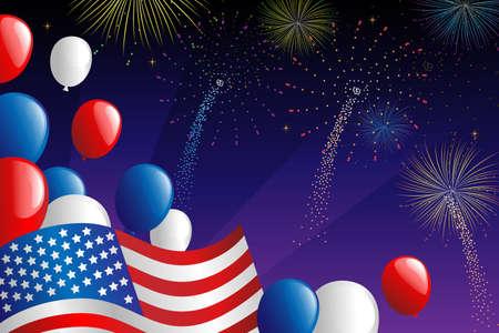 fourth of july: Una illustrazione vettoriale di Quarto di celebrazione luglio fuochi d'artificio