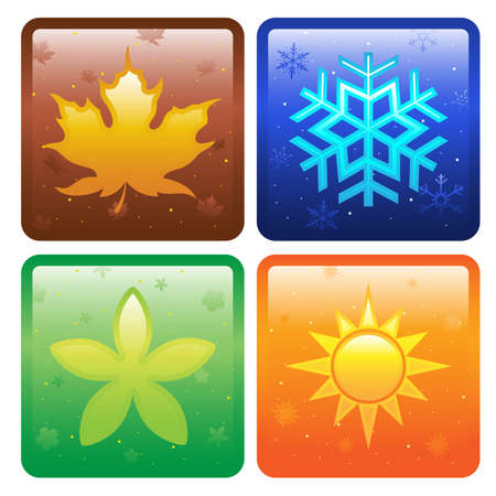 spring: A vector illustration of icons of four seasons