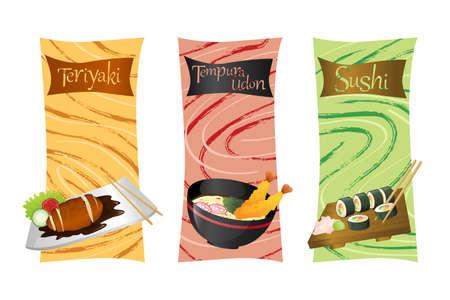 Een illustratie van Aziatische gerechten menu