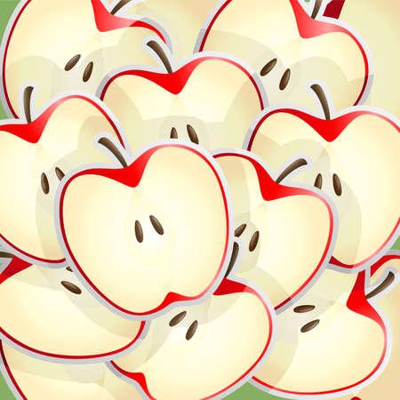Een illustratie van appels plakjes patroon