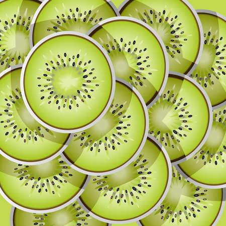 A illustration of kiwi slices pattern Çizim