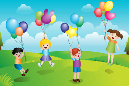A illustration of a group of kids playing with balloons in the park Vector