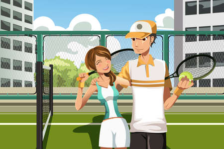 A vector illustration of a happy couple playing tennis Illustration