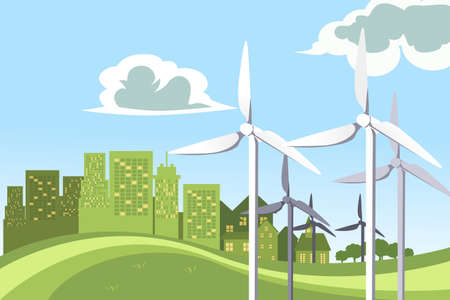 A vector illustration of a concept of wind turbines powering the city Ilustracja