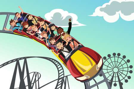 Una ilustración vectorial de las personas que montan en la montaña rusa de un parque de diversiones
