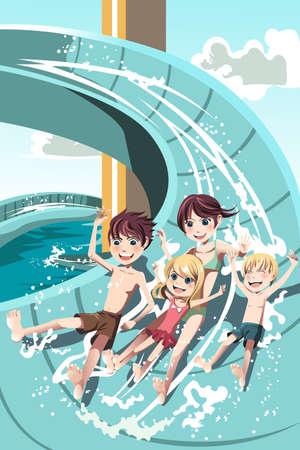 Een vector illustratie van kinderen plezier spelen waterglijbanen in een waterpark