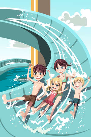 Una ilustración vectorial de los niños que tienen el agua se desliza divertirse jugando en un parque acuático
