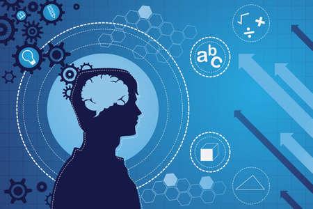 person thinking: Un ejemplo del vector de la funci�n del concepto cerebro humano Vectores