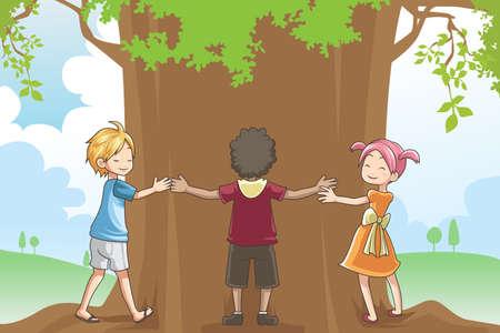 Een vector illustratie van kinderen knuffelen een boom met een concept van liefdevolle omgeving Stock Illustratie
