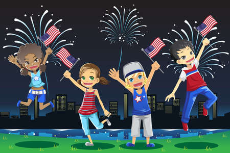 A vector illustration of kids celebrating fourth of july fireworks Vector