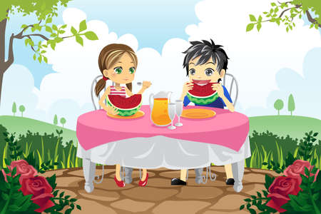 A vector illustration of two kids eating watermelon in a park