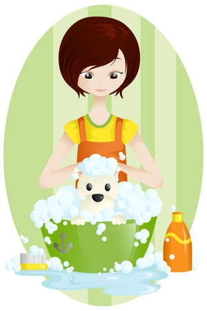 pet grooming: A vector illustration of a pet groomer