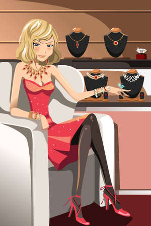 A vector illustration of a beautiful glamorous woman with her jewelries