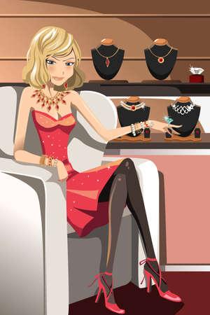 colliers: Une illustration vectorielle d'une belle femme glamour avec ses bijoux Illustration