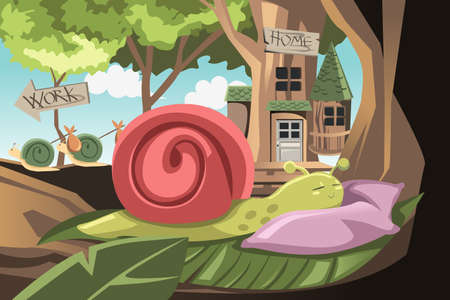 A vector illustration of a lazy snail sleeping while others going to work Vettoriali
