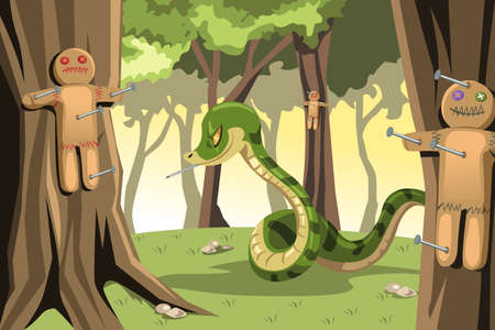 wrath: A vector illustration of an angry snake putting nails on gingerbread cookies hanged on the trees Illustration