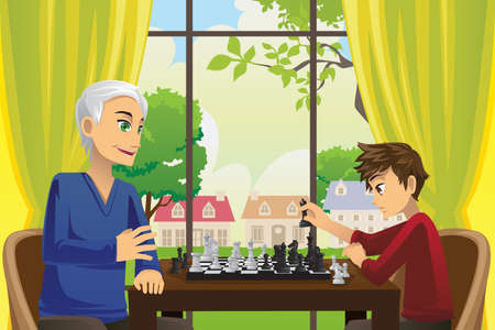 A vector illustration of a grandfather and his grandson playing chess at home Ilustração