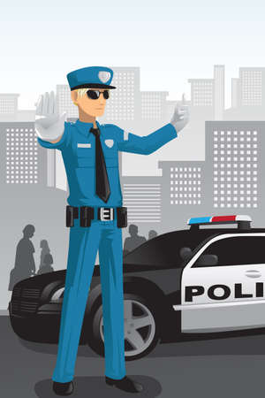 A vector illustration of a police officer managing the traffic