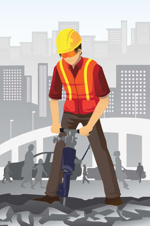 obrero caricatura: Una ilustraci�n vectorial de un trabajador de la construcci�n de carreteras
