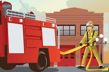 Een vector illustratie van een brandweerman te werken uittrekken van de slang uit zijn brandweerwagen