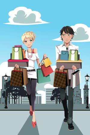 Een vector illustratie van een paar winkelen in de stad Stock Illustratie