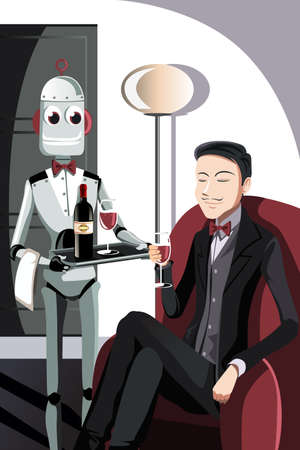 automated: A vector illustration of a robot serving a man sitting on a sofa