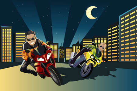 A vector illustration of young motorcycle racers in the city
