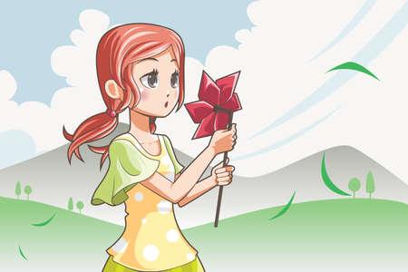 A vector illustration of a girl blowing a pinwheel Ilustração