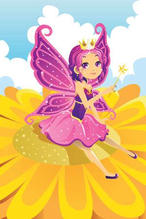 hadas caricatura: Una ilustración vectorial de una princesa de hadas