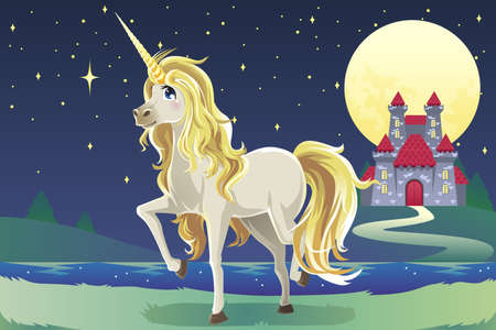 fantasy: A vector illustration of a unicorn outside of a castle