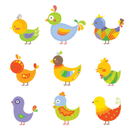 A vector illustration of different design of colorful chickens
