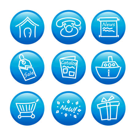 A vector illustration of glossy web icons Illustration