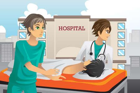 hopital cartoon: Une illustration vectorielle d'ambulanciers au travail � l'h�pital