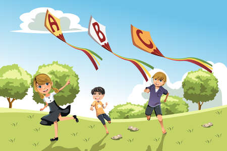 A illustration of three kids playing in a park running with alphabet kites Illustration