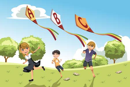kids abc: Una ilustraci�n de tres ni�os jugando en un parque corriendo con cometas alfabeto Vectores