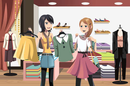 clothes cartoon: A illustration of women shopping in a clothing store